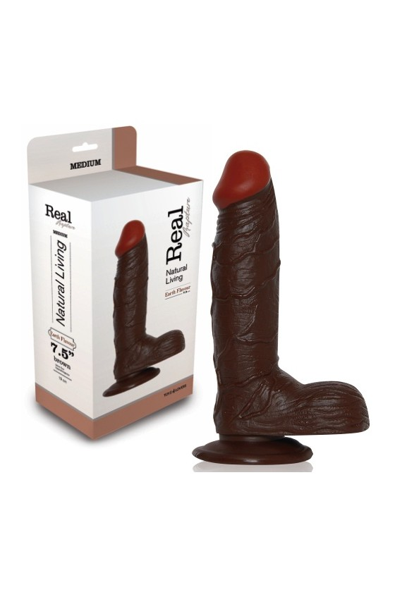 DILDO REALÍSTICO REAL RAPTURE EARTH FLAVOUR 7.5'' NEGRO